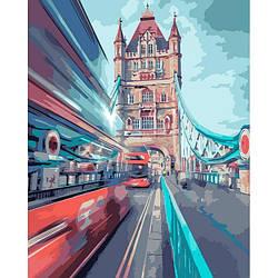 """Картина по номерам """"Динамический Лондон"""" Идейка 3570 (Лондон, автобус, время, сумерки, вечер)"""