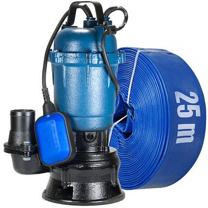 Фекальный насос с измельчителем + шланг 25м Lukon WQD чугунный корпус, фото 2