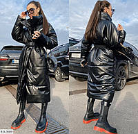 Куртка женская теплая модная удлиненная из эко-кожи (Норма)