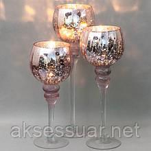 """Набор из 3 подсвечников """"Версаль""""  розовый (2006-002)"""
