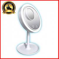 Косметическое зеркало с лед подсветкой и вентилятором для макияжа настольное круглое Beauty Breeze Mirror