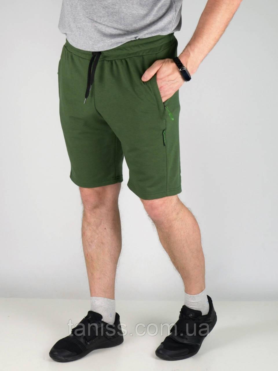 Чоловічі спортивні трикотажні шорти NEW «CLASSIC» з кишенями, р. 46,48,50,52,54 хакі