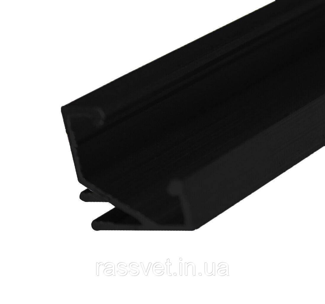 Черный угловой профиль ЛПУ17-T светодиодный окрашенный Crop