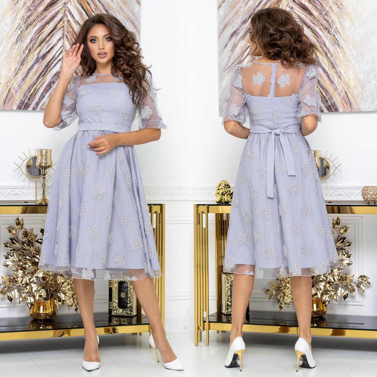 """Сукня коктейльне святкове сіре розміри 42-54 """"Березня"""""""