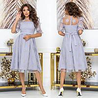 """Сукня коктейльне святкове сіре розміри 42-54 """"Березня"""", фото 1"""