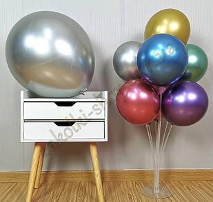 Латексные надувные шары хром серебро, размер 12 дюймов/30 см, вес одного шарика 2.8 грамм, 50 штук в упаковке