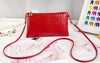Сумка женская кожзам красного цвета, клатч, сумочка-клатч с плечевым ремнем 11*21см