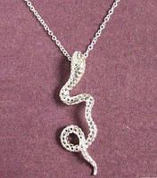 Посеребрённый ажурный кулон подвеска на цепи Змея, фото 1