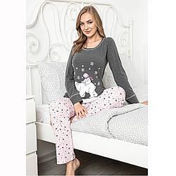 Піжама жіноча котон трикотажна турецька з принтом Ведмідь Seyko S-XL XL