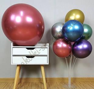 Латексные надувные шары хром розовый, размер 12 дюймов/30 см, вес одного шарика 2.8 грамм, 50 штук в упаковке