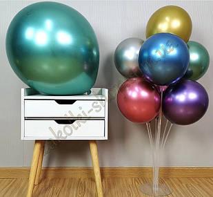Латексные надувные шары хром зеленый, размер 12 дюймов/30 см, вес одного шарика 2.8 грамм, 50 штук в упаковке