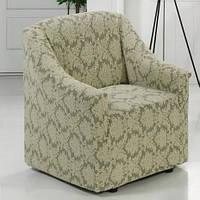 Жаккардовый чехол на кресло из плотной ткани, фото 1
