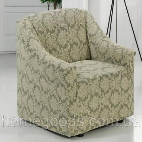 Жаккардовый чехол на кресло из плотной ткани