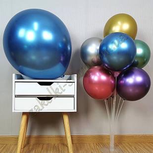 Латексные надувные шары хром синий, размер 12 дюймов/30 см, вес одного шарика 2.8 грамм, 50 штук в упаковке