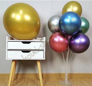 Латексные надувные шары хром золото, размер 12 дюймов/30 см, вес одного шарика 2.8 грамм, 50 штук в упаковке