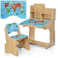 Парта детская B 2071-45-3 Карта мира со стульчиком регулируемая с надстройкой