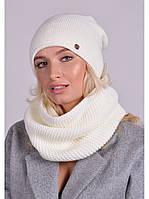 Женский комплект шапка и шарф - хомут шерстяной теплый вязаный разные расцветки