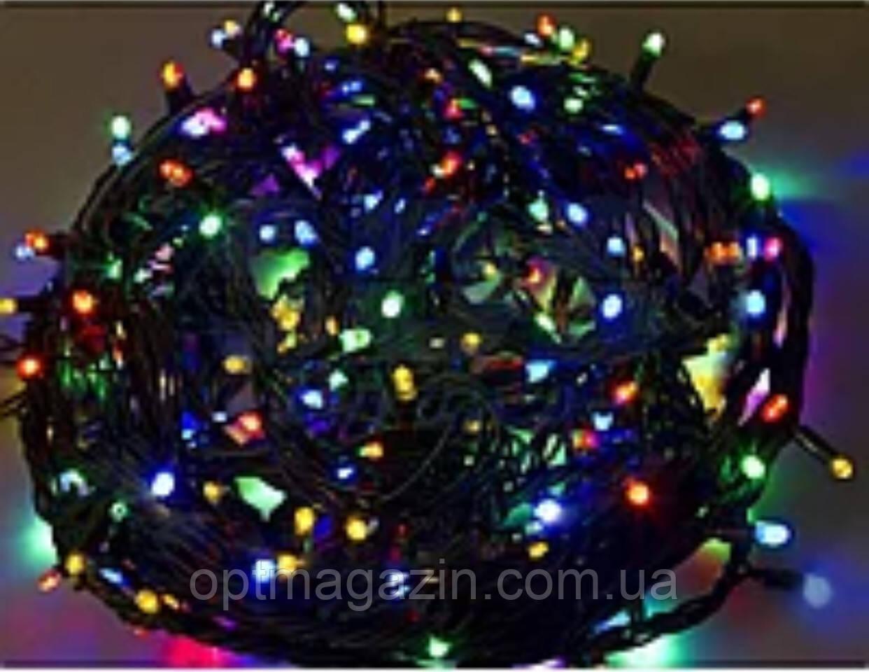 Гирлянда черный шнур хрусталь 200 LED мультик