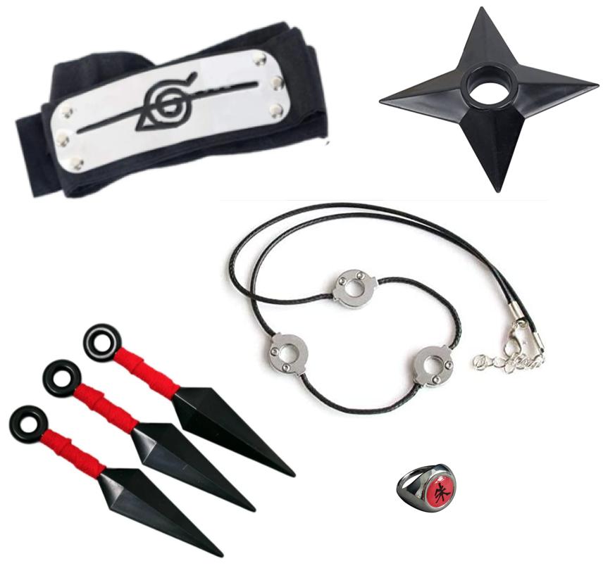 Набір аксесуарів Ітачі Учіха 5в1: куна, налобний протектор, перстень, ланцюжок, зірка-сюрікени - Naruto SET5