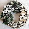 Новогодний венок на дверь в эко- стиле с фигуркой Быка символом 2021 года Ручная работа