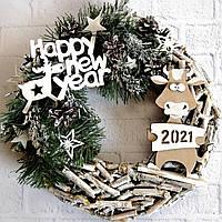 Новогодний венок на дверь в эко- стиле с фигуркой Быка символом 2021 года Ручная работа, фото 1