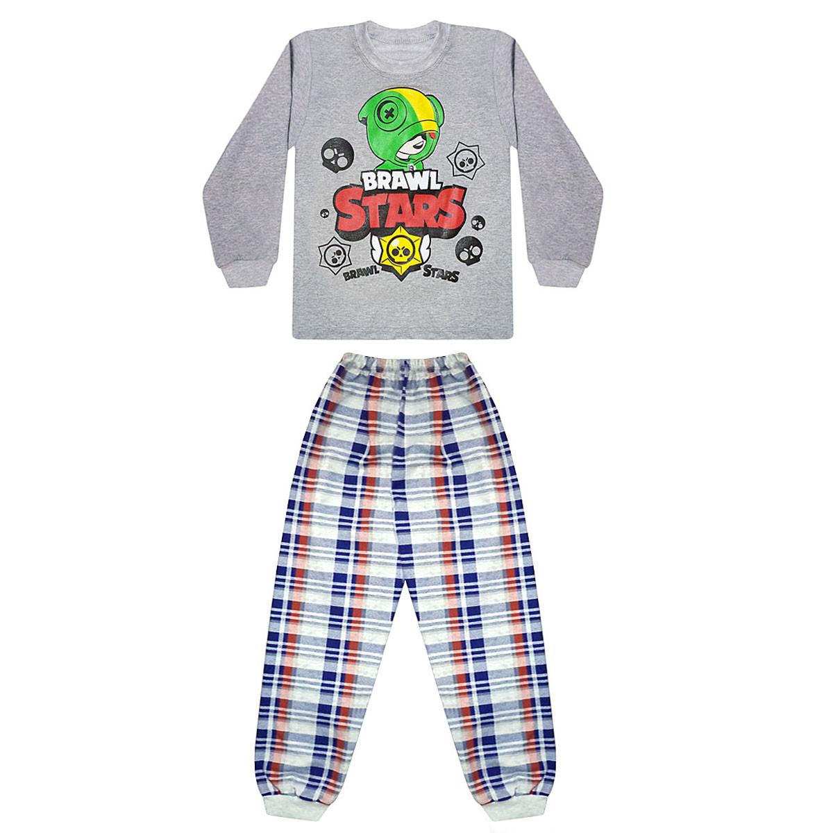 Детская теплая пижама для мальчика начес