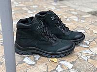 Зимние ботинки Кожаные очень стильная модель Mida 14062 ч/зел размеры 41,42,43,44,45, фото 1