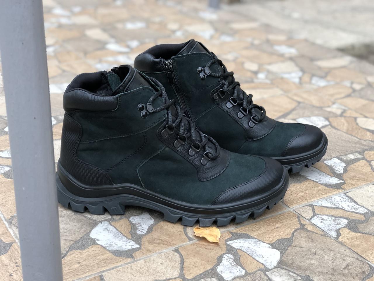 Зимние ботинки Кожаные очень стильная модель Mida 14062 ч/зел размеры 41,42,43,44,45