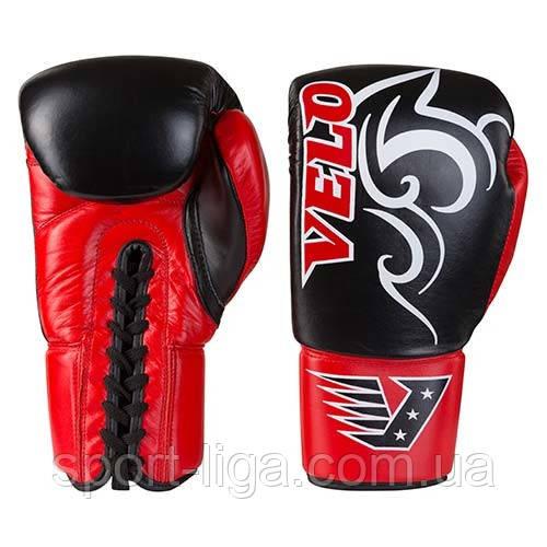 Боксерські рукавички Velo на шнурівці, шкіра, 12 oz