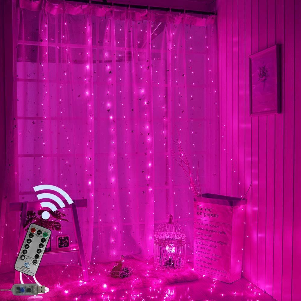 Гирлянда Штора Роса на Проволоке, Розовая 300LED, с Пультом, 3х3м, от USB