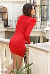 Облегающее трикотажное платье с защипами на плечах красное, фото 3