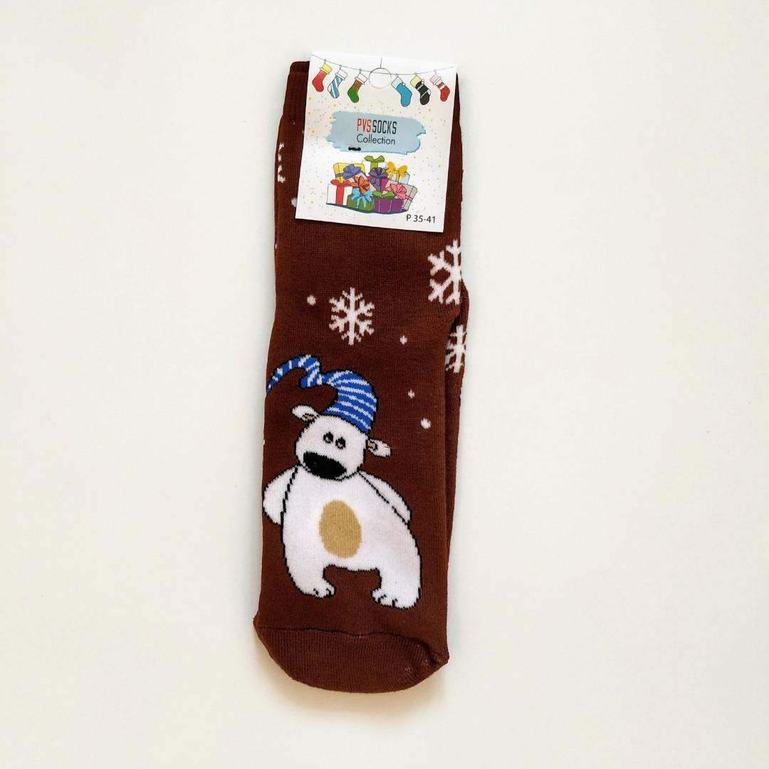 Теплые махровые носки женские шоколадные с мишкой 35-41 размер