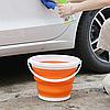 Складное силиконовое ведро на 5л Collapsible Bucket, с ручкой, фото 6