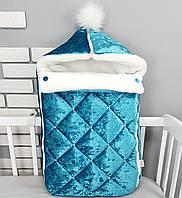 Зимний конверт на выписку и для коляски из мраморного бархата и меха в бирюзовом цвете., фото 1