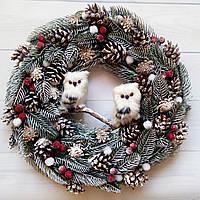 Новогодний венок с совами d 37см Новогоднее украшение дома Ручная работа