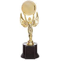 Награда (приз) спортивная НИКА с местом под жетон C-0333B (пластик, h-26cм, b-9см, золото)