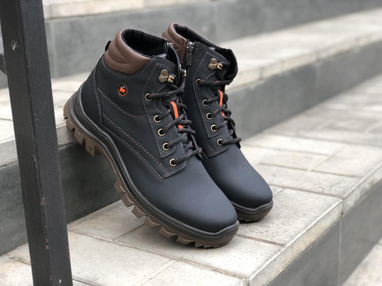 Зимние мужские ботинки Кожаные Mida 14806 ч/к размеры 40,41,42,43,44,45