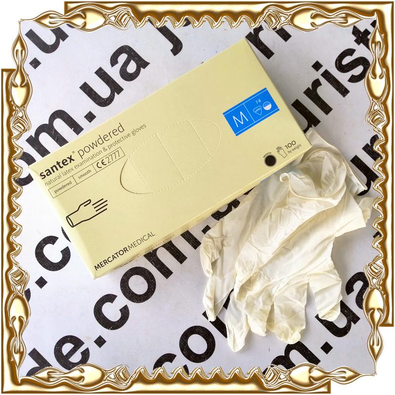 Рукавички медичні латексні Santex Powdered Mercator Medical 50 пар/уп. Розмір M