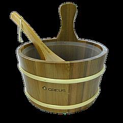 Набор GREUS кедр (шайка 4 л + черпак) с пластиковой вставкой для бани и сауны