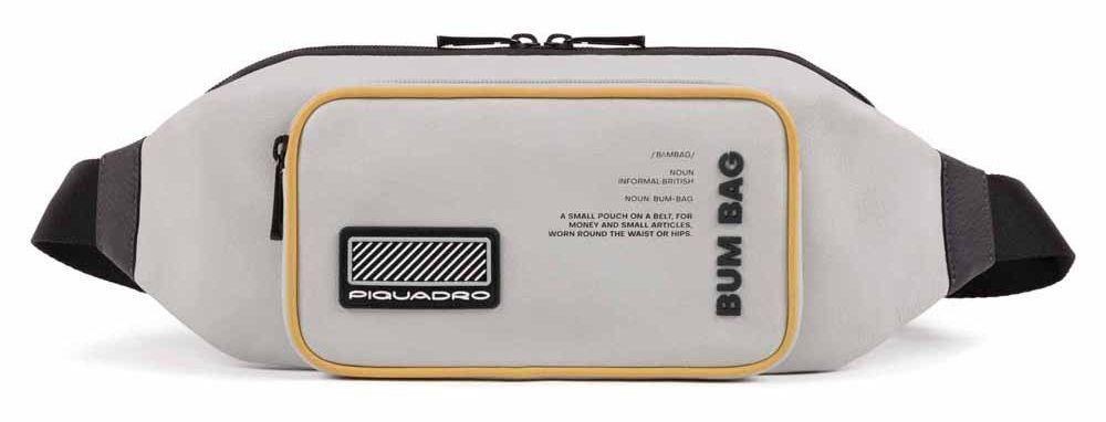 Кожаная сумка на пояс Piquadro Ermes, серый