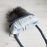 Зимний детский синий набор: шапка с флисовой подкладкой + вязаный снуд - хомут для мальчика 1 - 2 - 3 - 4 года, фото 4