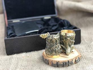 Стопки бронзовые перевертыши 2 шт Люкс Nb Art Звери из бронзы с флягой 48440010