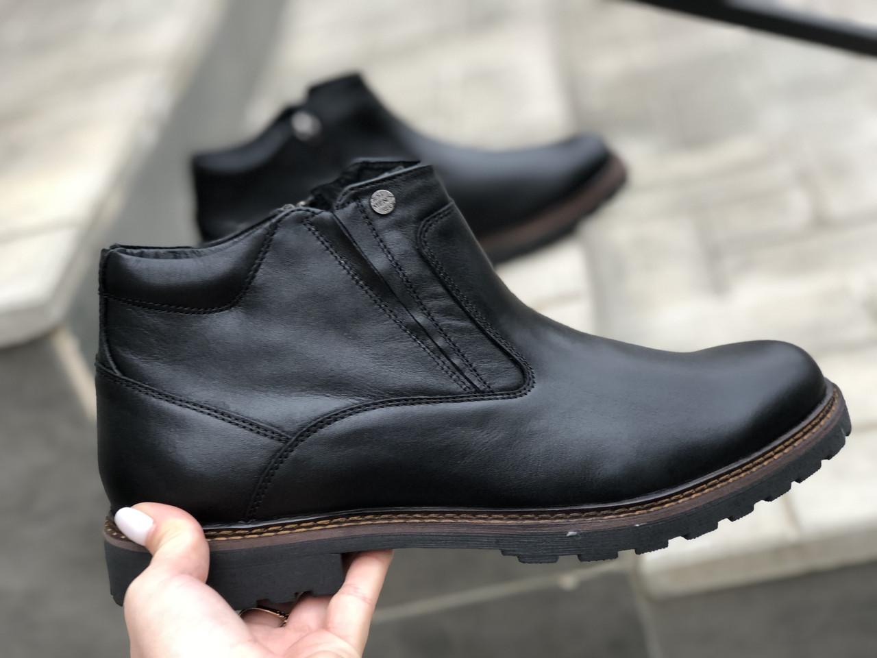 Кожаные мужские ботинки очень удобная модель Mida 14219 ч/п размеры 40,42,43,44,45