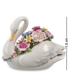 Статуэтка фарфоровая музыкальная Pavone Лебедь с цветами см 1103201