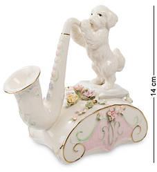 Статуэтка фарфоровая музыкальная Pavone Щенок и саксофон 14 см 1103364