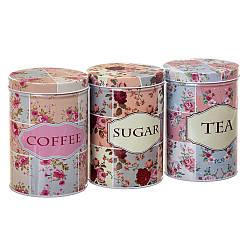 "Набір з 3-х жерстяних банок ""Чай, кава і цукор"" 14,5 см 18113-004"