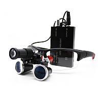 Бінокулярні збільшувальні окуляри лупа 3.5 х 420мм з підсвічуванням і АКБ 1800мАч
