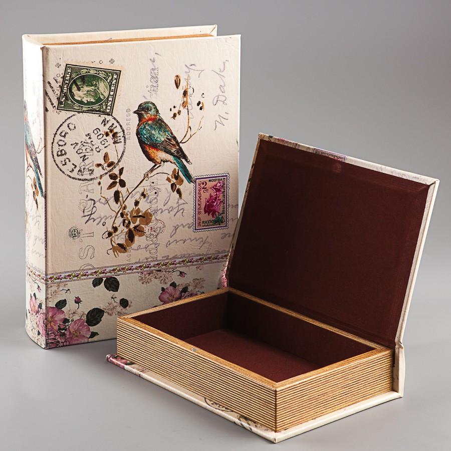 Книга-шкатулка Veronese из 2 шт Птицы 21х30х7 см 063U