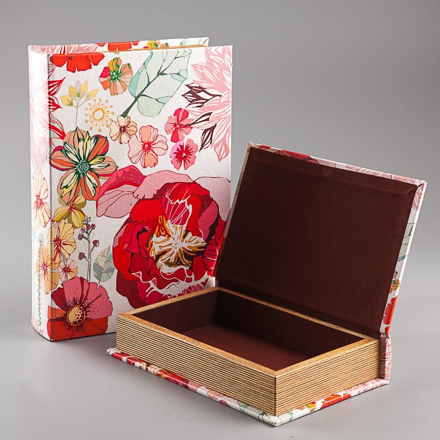 Книга-скринька Veronese з 2 шт Квіти 21х30х7 см 055U