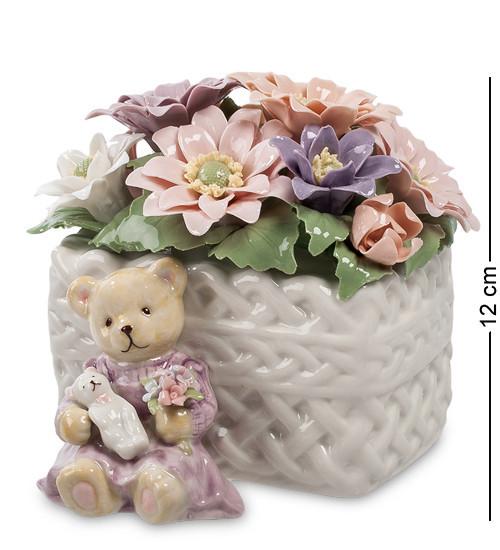 Статуэтка музыкальная Pavone Медвежонок с цветами 12 см 1101314
